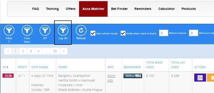 """In the Acca Matcher, select """"Lay All"""""""