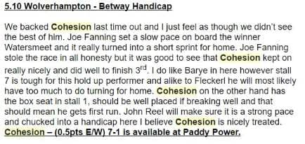 DG Tips - Selection of Cohesion at Wolverhampton