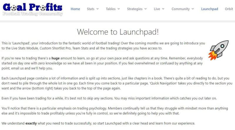 Goal Profits 'Launchpad' football trading course